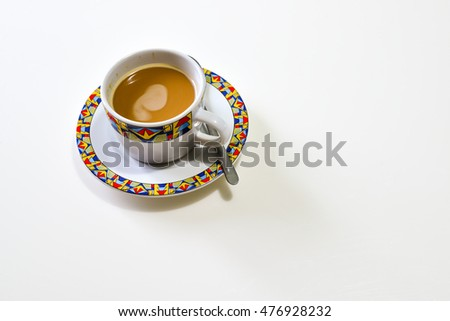 Cup of Coffee on the white Background, Breakfast