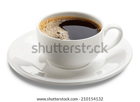 cup of coffee over white background. Clipping Path