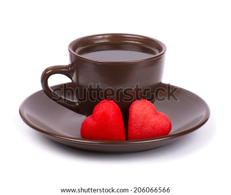 cup of coffee, red candy, gift and roses for Valentine's Day, isolated on white