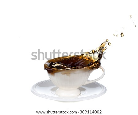 cup of coffee splash isolated on white background