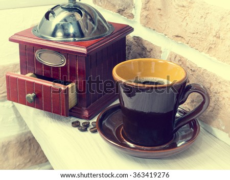 cup of coffee, sweets, coffee grinder, still life, interior