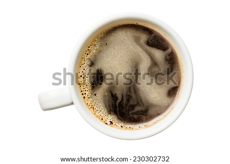 Cup of coffee, top view. Isolated on white background - stock photo