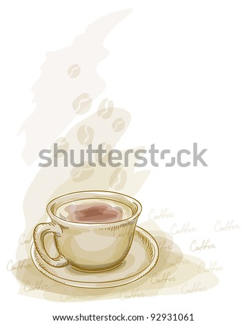 Cup of coffee. Watercolor style.  Raster version. - stock photo