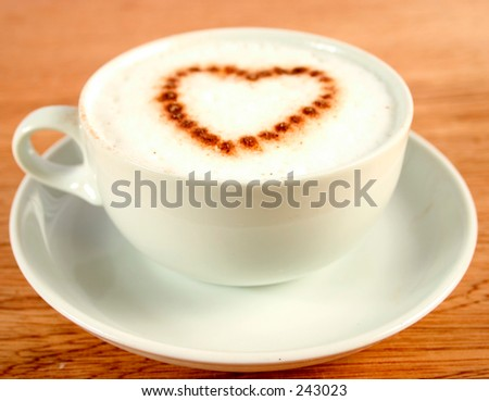 cup of coffee with a heart shape chocolate sprinkle
