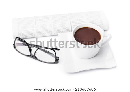 Cup of coffee with a newspaper and glasses isolated on white background
