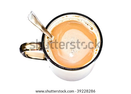 cup of coffee with a teaspoon on a white background