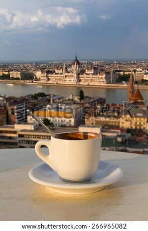 Cup of coffee with a view of the parliament building in Budapest (vertical picture, the building in focus) - stock photo