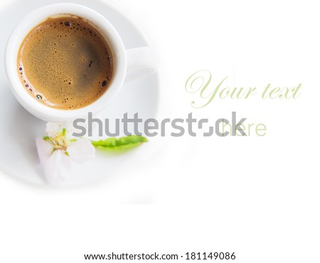 Cup of Coffee with almond flower  isolated - stock photo