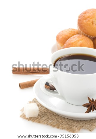 cup of coffee with beans isolated on white background - stock photo