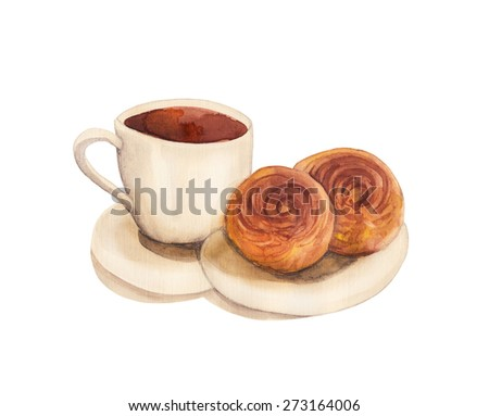 Cup of coffee with 2 buns. Watercolor illustration. Hand drawing - stock photo