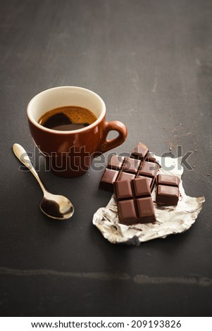 Cup of coffee with chocolate - stock photo