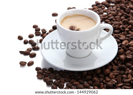 Cup of coffee with coffee beans, isolated on white - stock photo