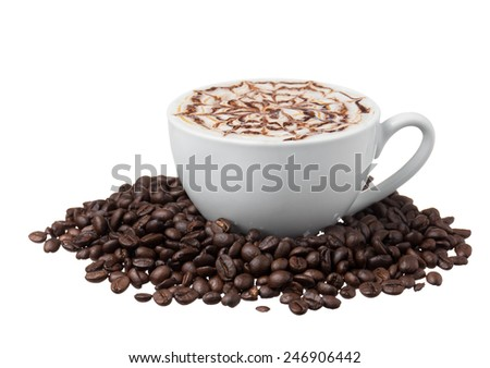 Cup of coffee with coffee beans on white background,isolated - stock photo