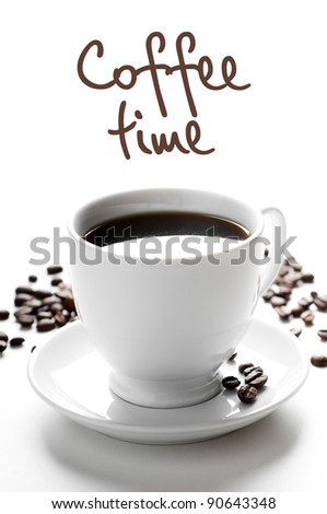 cup of coffee with coffee grains isolated on white - stock photo