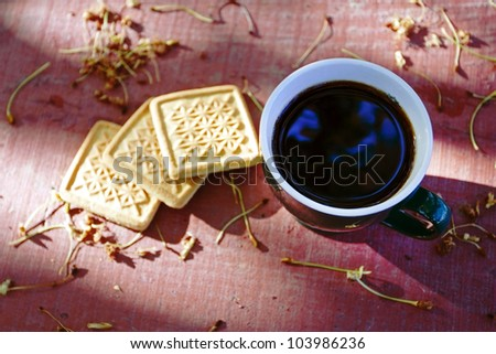 Cup of coffee with cookies on a summer little table in a garden