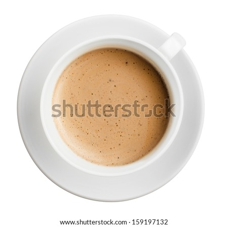 cup of coffee with foam isolated on white, all in focus, top view - stock photo