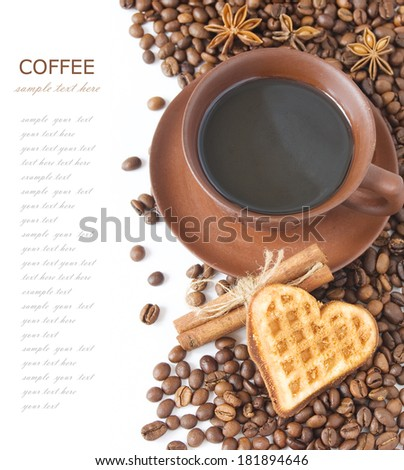 Cup of coffee with heart cake, spice and coffee beans isolated on white background - stock photo