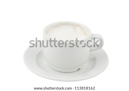 Cup of coffee with milk isolated over whte background - stock photo