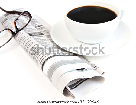 cup of coffee with newspaper isolated