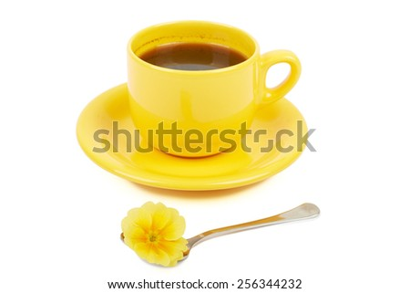 Cup of coffee with spices and flower yellow isolated on white