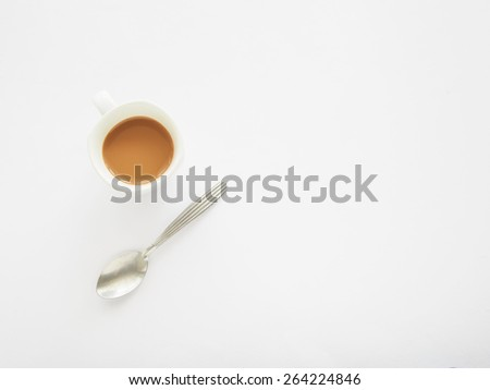 Cup of coffee with spoon, Right space for your text - stock photo