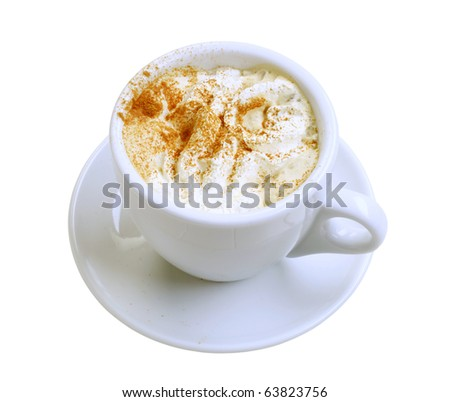 Cup of coffee with whipped cream and nutmeg