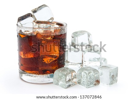 cup of cola and ice with clipping path 2 - stock photo