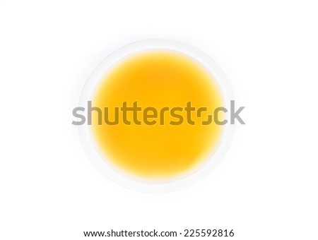 Cup of custard on white background. - stock photo