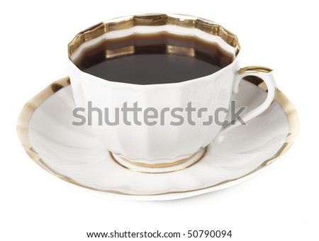 Cup of delicious coffee on a white background