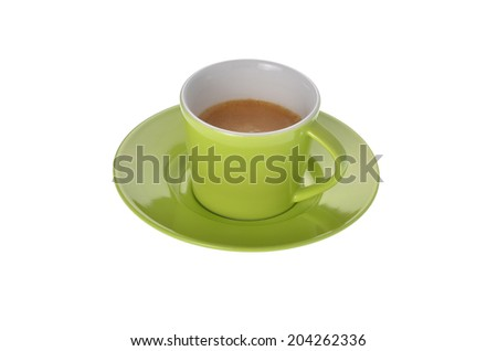 cup of espresso coffee on white background - stock photo