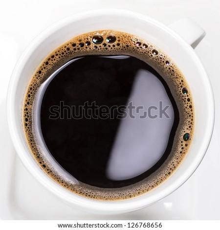 Cup of fresh black coffee - stock photo