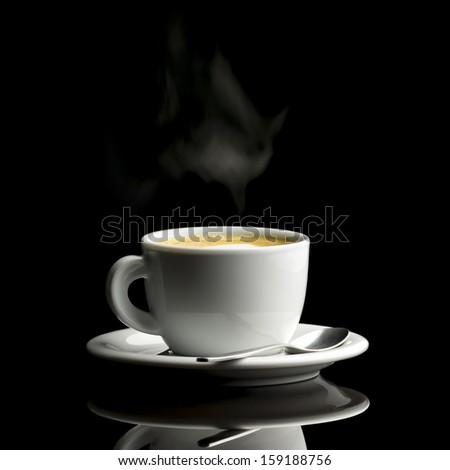 Cup of fresh hot coffee over black background. - stock photo