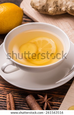 Cup of ginger tea, close up shot