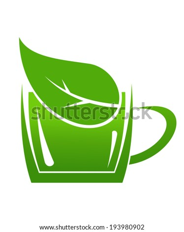 Cup of green bio beverage produced without harm to the environment in a sustainable manner, a cup or mug logo with a leaf in it. Vector version also available in gallery