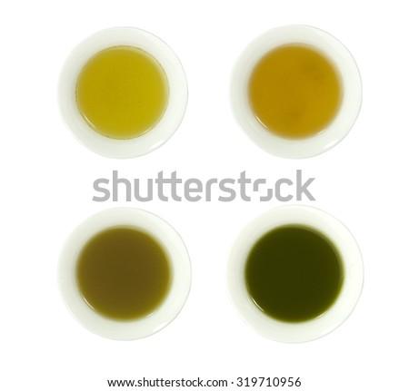 Cup of green tea four types of tea tea bag,sencha,genmai cha,match isolated on white background.  - stock photo