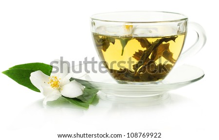 cup of green tea with jasmine flowers isolated on white - stock photo