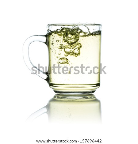 Cup of green tea with white background
