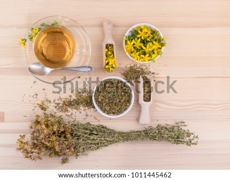 Cup of herbal tea with dried and fresh St. John's wort  on a wooden background