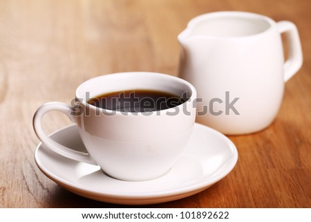 Cup of hot black coffe - stock photo