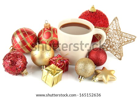 Cup of hot cacao with Christmas decorations isolated on white - stock photo