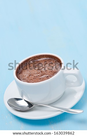 cup of hot chocolate and space for text, vertical, close-up - stock photo