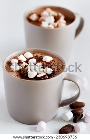 Cup of hot chocolate cocoa drink with marshmallows, milky choc dessert beverage - stock photo