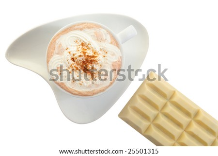 Cup of hot chocolate drink with white chocolate.