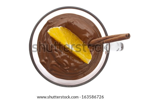 Cup of hot chocolate isolated on a white background