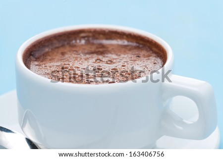 cup of hot chocolate, selective focus, close-up, horizontal - stock photo