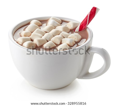 Cup of hot cocoa with marshmallows and candy stick isolated on white background - stock photo