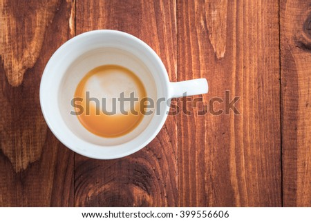Cup of hot tea on brown background and texture.