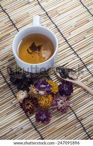 Cup of hot tea on japan wooden mat background