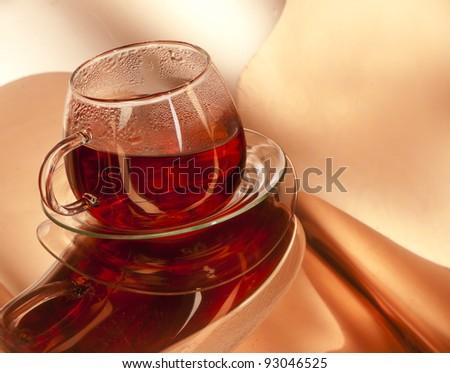 Cup of hot Tea, studio shot - stock photo