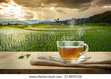 Cup of hot tea with sacking on the wooden table and the rice field s background - stock photo